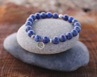 "Lapis Lazuli ""Intuition"" Bracelet Third Eye Chakra Choose your Charm"