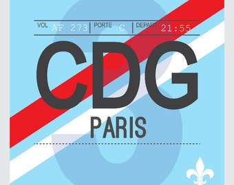 Travel Art, Travel Poster, Vintage Plane ticket, Paris