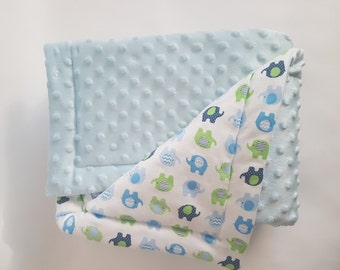 Children's blankets blankie baby blanket white unisex babydecke quilt security blanket in blue - 70 x 100 cm