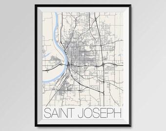 ST. JOSEPH Missouri Map, St. Joseph City Map Print, St. Joseph Map Poster, St. Joseph Wall Art gift, Custom city, Personalized Missouri map