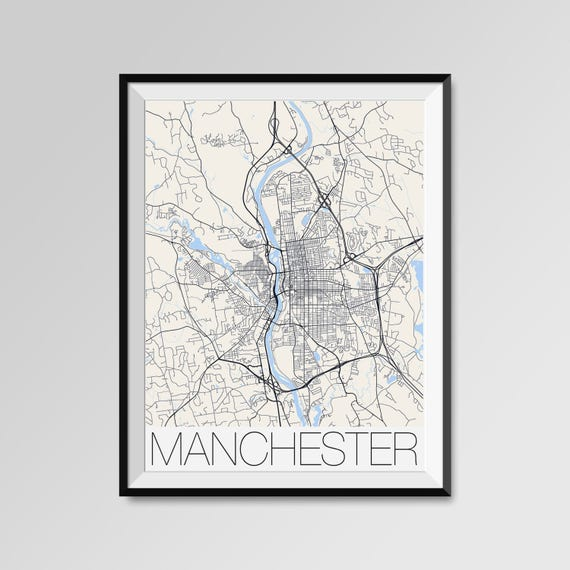 MANCHESTER New Hampshire Map Manchester City Map Print - Manchester new hampshire map