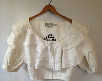 1980s embroidered and beaded cropped white cotton blouse by SPEED LIMIT MPH