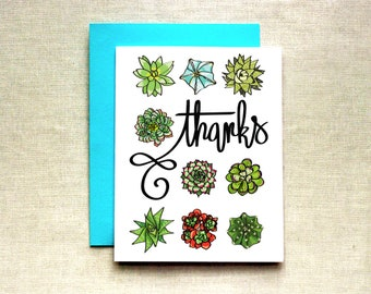 Succulent Thank You Card (Individual & Set of 4), Thank You Card, Plant Thank You