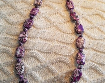 20% OFF NOW Dark Purple Mosaic Beaded Necklace,  21 inches