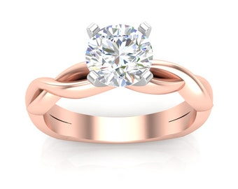 White Yellow or Rose Gold Engagement Ring Infinity Solitaire Ring Round Adjustable Head Semi Mount Brand New 14K Setting Only