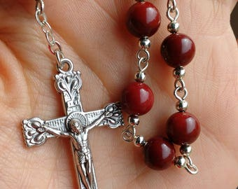 Burgundy One Decade Rosary. Mookaite Tenner. Pocket Rosary.