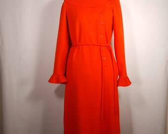 VINTAGE Mollie Parnis Dress Wool Red Long Sleeve Mad Men Mid Century