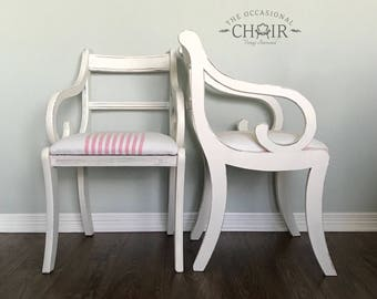 Vintage 1950's Regency-style Scroll Arm Chairs
