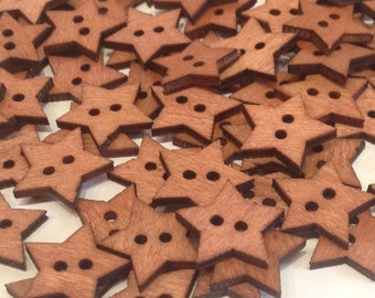 Buttons star natural wood paint, sew two holes work of scrapbooking clothing measurement accessories 20 mm custom Packs
