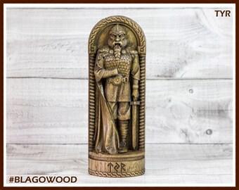 Wooden, Tyr, Scandinavian pantheon, Tyr statue, Tyr figurine, wooden Tyr, norse god, scandinavian god, Tyr god, viking gods
