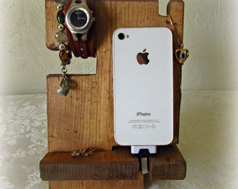 Fathers Day Gift, Gift for Dad, Dad Gift, Dad Birthday Gift, Wood iPhone Docking Station, Phone Holder, Rustic Phone Stand, Charging Station