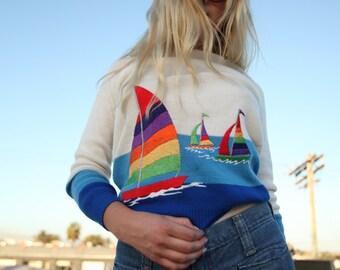SPRING SALE Vintage Embroidered Sailboat Pullover Sweatshirt