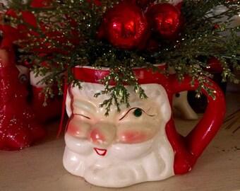 Vintage Winking Santa Mug Decoration with Original Arrangement