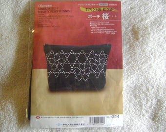 Sashiko Small Pouch Kit with Needle/Threads/Thimble/Instructions
