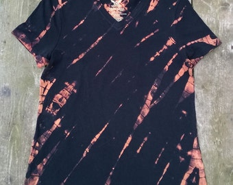 Hand Bleached T-Shirt - Ladies V-Neck - Size Large - Black and Rust - Black Cat