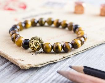 8mm - Tiger eye stone beaded gold Lion head stretchy bracelet, yoga bracelet, mens bracelet, womens bracelet, tiger eye bracelet