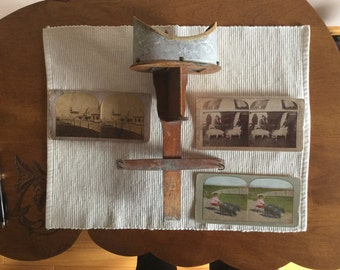 Vintage Stereoscope with 3 Cards Circa 1910-1920