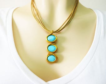 Gold Turquoise Jewelry, Gold Turquoise Necklace,Layered Necklace, Mom Necklace, Statement Turquoise Jewelry, Statement Turquoise Necklace,