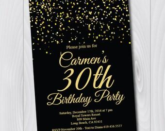 30th Birthday Invitation/Printable Gold & Black Birthday Invitation/e-card invitation/Template/Birthday Invitation/thirtieth birthday