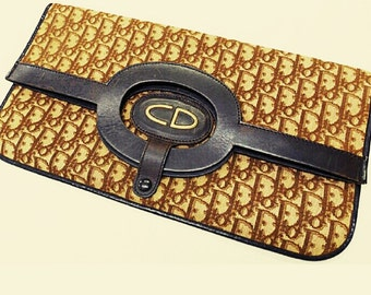 Vintage Christian Dior brown  clutch, hand bag, bag with CD gold