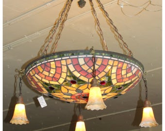 a7367 antique stained u0026 jeweled glass ceiling bowl light fixture chandelier tiffany style - Tiffany Chandelier