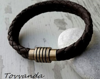 Leather Bracelet, Braided Bracelet, Boyfriend Gift, Men's Leather Jewelry, Jewelry for Him, friendship bracelet wedding gift