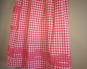 Vintage Red and White Gingham Kitchen Apron