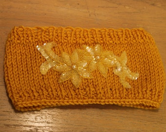 Mustard Yellow Knit Headband with Sequin Applique