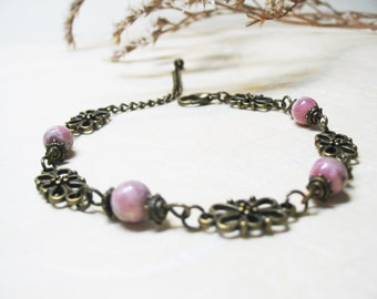 Rhodochrosite Bracelet Heart Chakra Bracelet Vintage Bracelet Beaded Gemstone Bracelet Romantic Bracelet Crystal Bracelet Love Bracelet