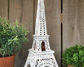 Shabby Chic Eiffel Tower Candle Lantern, French Decor Accent