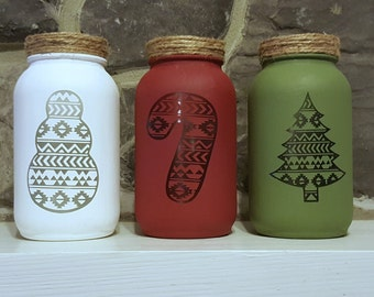 Christmas Decor - Christmas Mason Jar Set - Chalk Paint Mason Jars - Aztec Decor - Mason Jar Decor - Holiday Decor - Christmas Decorations