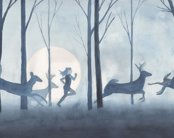 Girl Running with Deer in Blue