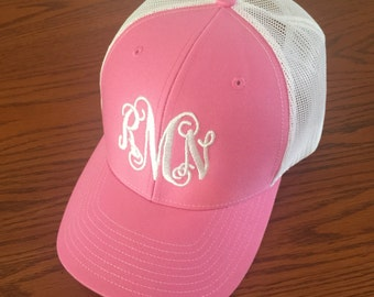 Monogrammed Trucker Hat- Womens Embroidered Mess Cap