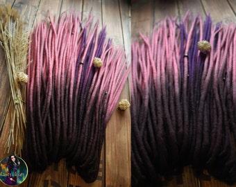 Wool ombre double ended dreadlocks DE dreads dark brown pink