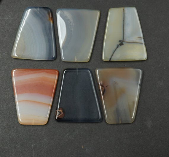 Lot of 6 Trapezoid Shaped Smooth Agate Stones A-9