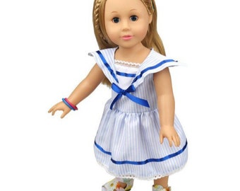 """18"""" Inch Doll Size Dress ~ Navy Blue & White Sailor Dress with Bow and Eyelet Lace Trim ~ American Girl Clothing"""