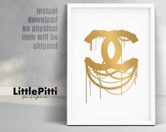 Gold coco chanel logo,  gold chanel logo print, chanel wall art, digital download, chanel decor, cc logo, chanel gold print, chanel gold