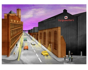 A4 A3 Sheffield Forgemasters printed illustration,iconic sheffield,sheffield steel,sheffield industry,gift for sheffield lover,sheffield art