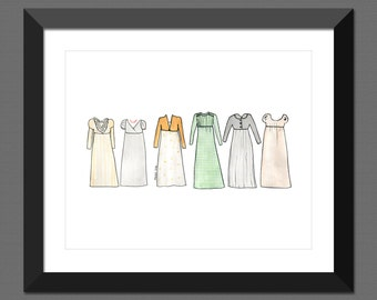 Print - Pride and Prejudice Dresses, 8x10, Watercolor Wall Art, Jane, Elizabeth, Mary, Kitty, Lydia Bennet,