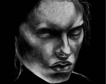 Scorn - original art - giclee print - portrait