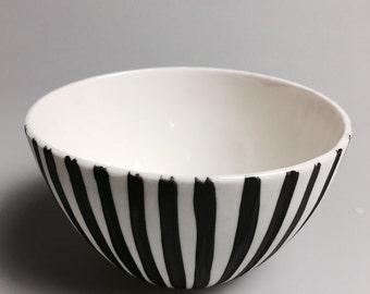 Black and white striped bowl