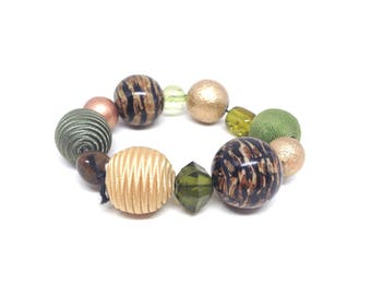 Handsome Estate Earth Colorful Tone Chunky Beaded Stretch Bracelet