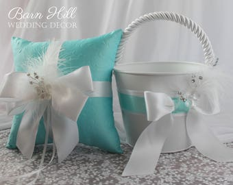 Ring Bearer Pillow, Flower Girl Basket, Tiffany Blue Wedding, White, Wedding Ring Pillow, Tiffany Blue and White Wedding
