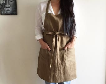 Brown Linen Apron