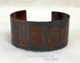 Etched Cuff Bracelet, Etched Owls, Copper Cuff, Gifts for Her, Antiqued Copper Cuff, Gifts, Ready To Ship, ArizonaCopperCraft, FREE SHIPPING