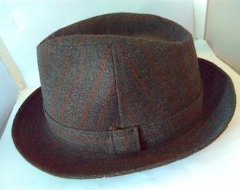 Vintage, Men's Fedora hat, trilby hat, grey, size 6 3/4, 55cm, Fedora by Dunn & Co, Great Britain, vintage Fedora, vintage Fedora hat,