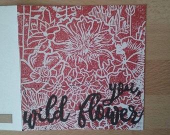 Handmade card: You, wild flower - linocut and handprinted card