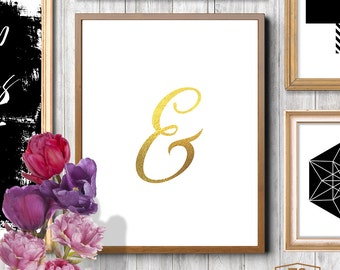 Gold ampersand Sign for Mr & Mrs, And Sign, Gold Words, Wedding Decor, Wedding Signs, Wedding Printable, Engagement Gift
