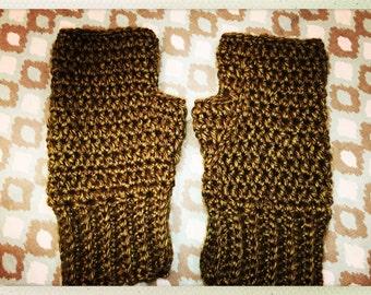 Olive Green Crocheted Adult Size Fingerless Gloves