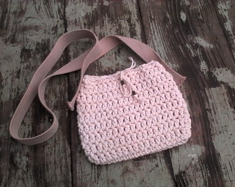 Bag rope (cotton) of phildar, made with crochet, with shoulder strap